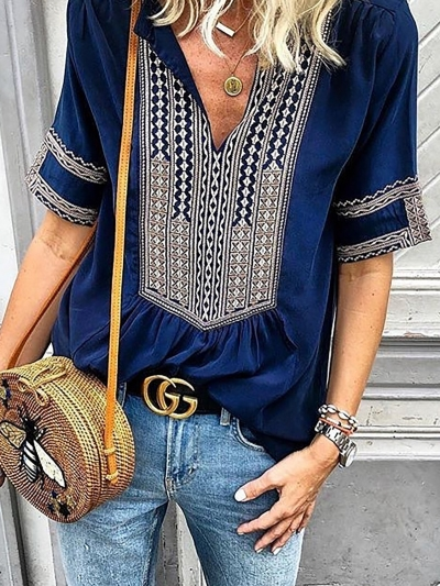 blue-casual-printed-blouses-shirt