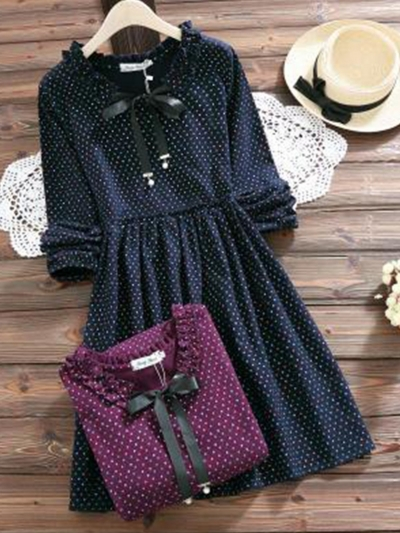 bow-neck-long-sleeve-sweet-polka-dot-dress