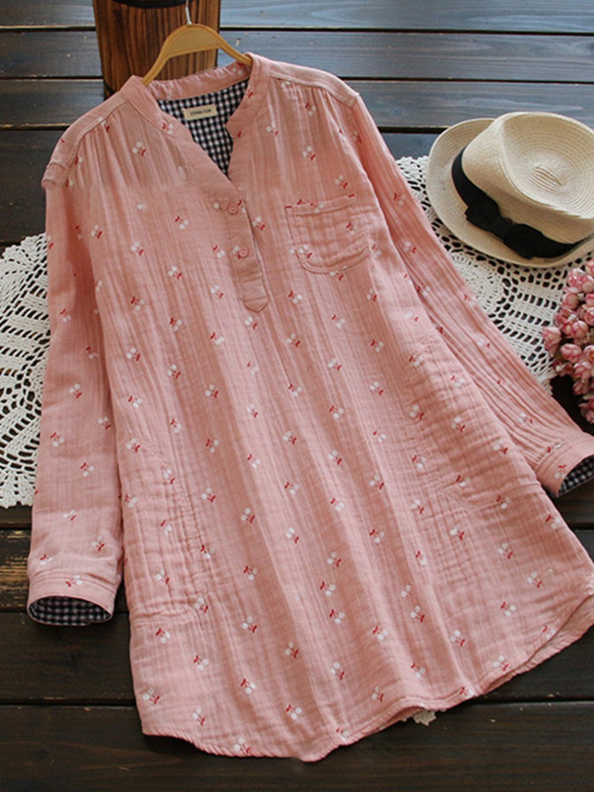 Cute Printed Stand Collar Blouse choichic.com