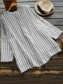 loose-vertical-striped-v-neck-high-low-button-shirt