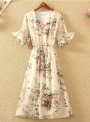 dress-floral-printed-elastic-waist-design-chiffon-dress