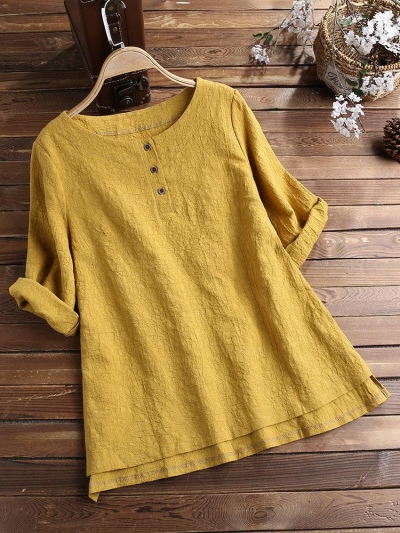 3-4-sleeve-round-neck-solid-color-pullover-blouse