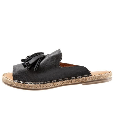 casual-peep-toe-tassel-flat-sandals