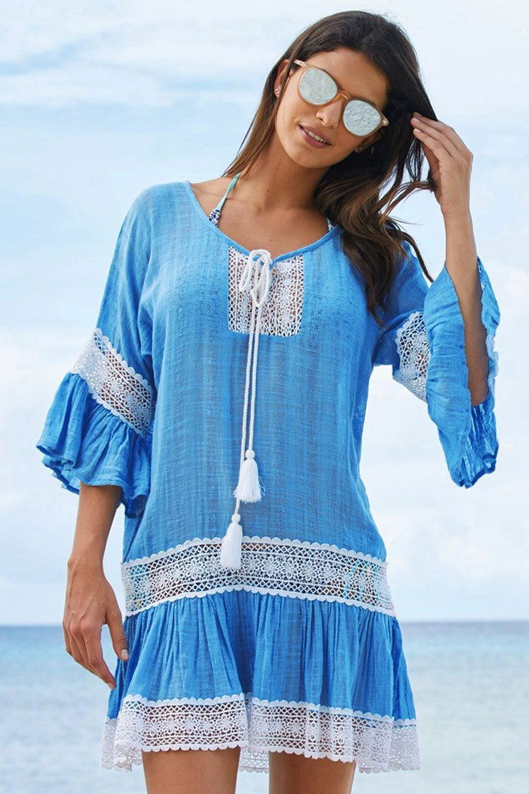 Leisure Flare Sleeve Lace Panel Tunic Cover Up choichic.com