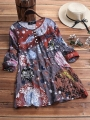 vintage-print-pleated-crew-neck-button-long-sleeve-plus-size-shirts