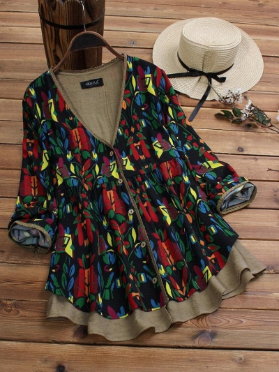 fake-two-pieces-ethnic-print-vintage-blouse-for-women