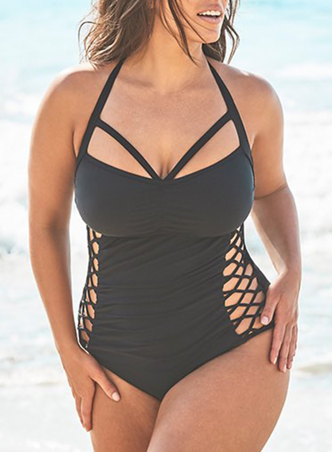 BOSS CUT OUT UNDERWIRE ONE PIECE SWIMSUIT choichic.com