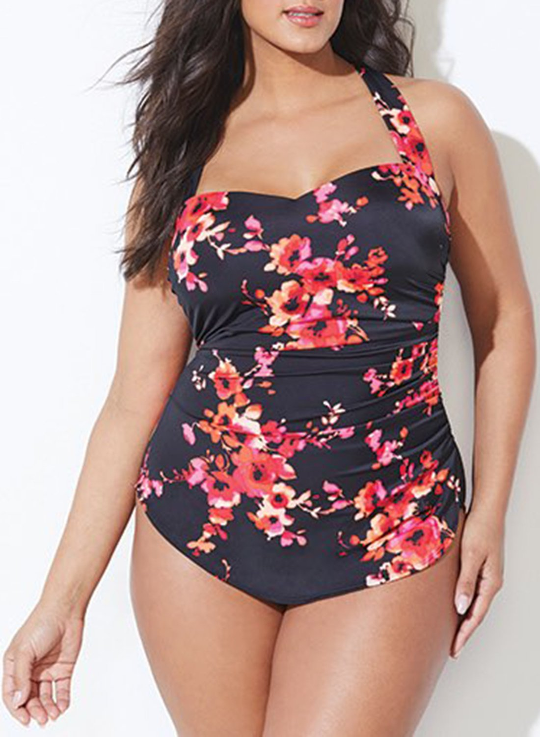 CHLORINE RESISTANT POPPIES H-BACK SARONG FRONT ONE PIECE SWIMSUIT choichic.com