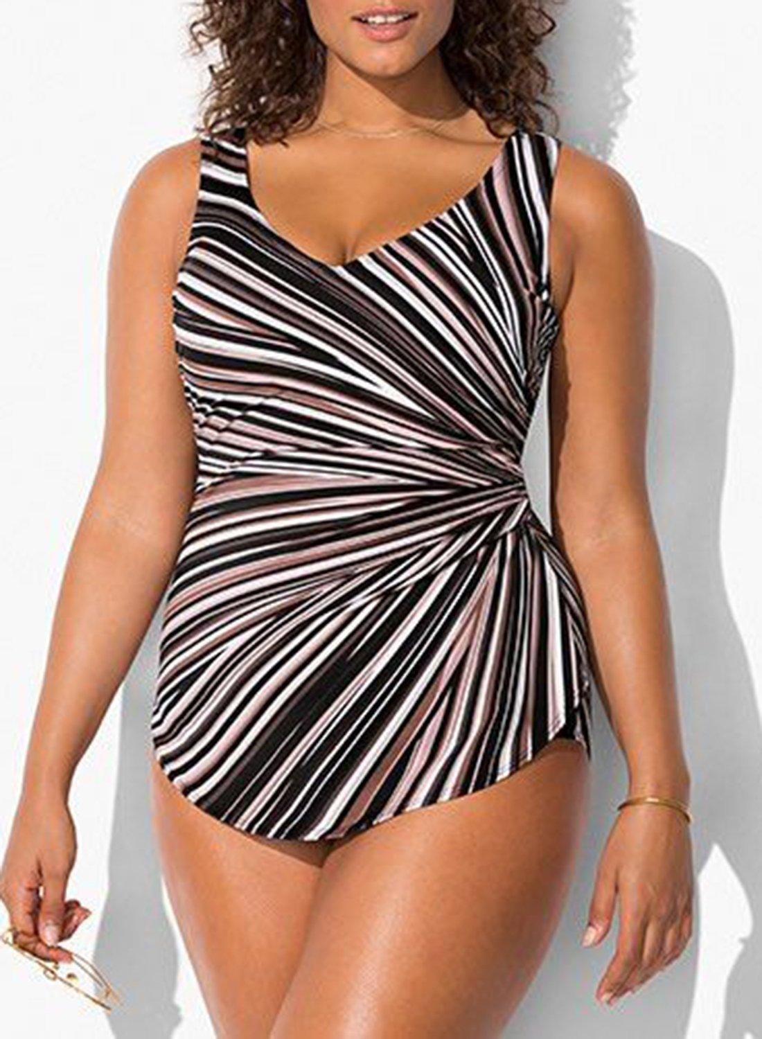 PRISM SARONG FRONT ONE PIECE SWIMSUIT choichic.com