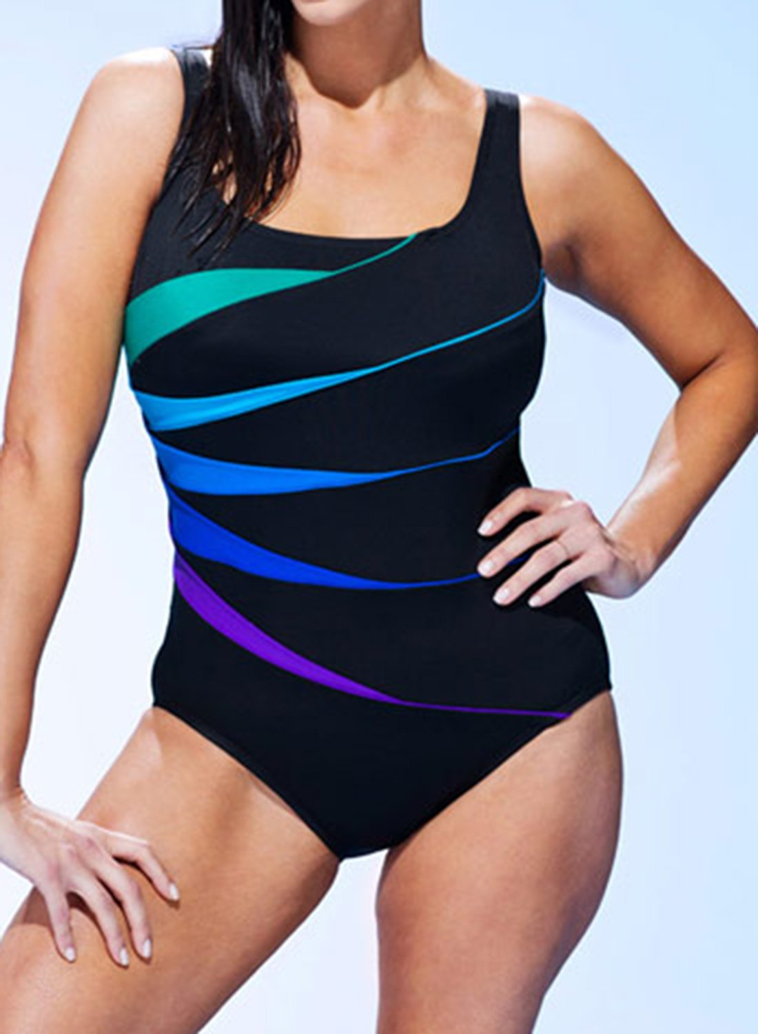LONGITUDE CHLORINE RESISTANT FAN TANK ONE PIECE SWIMSUIT choichic.com