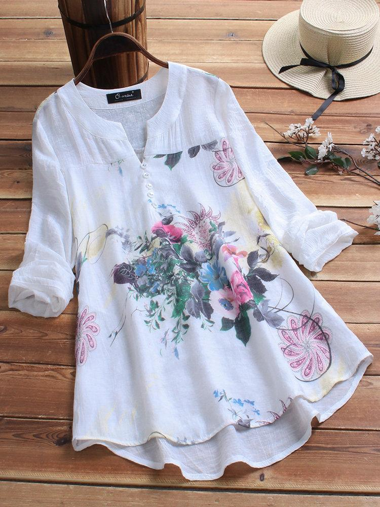 Vintage Print Patchwork Plus Size Blouse for Women choichic.com