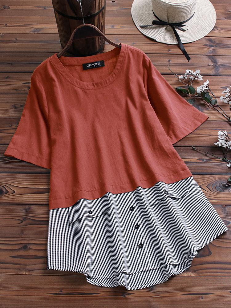 Patchwork Plaid Irregular Button Short Sleeve Blouse choichic.com
