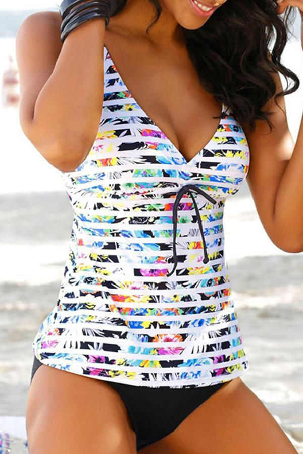 Stripe Print V Neck Tankini Set choichic.com
