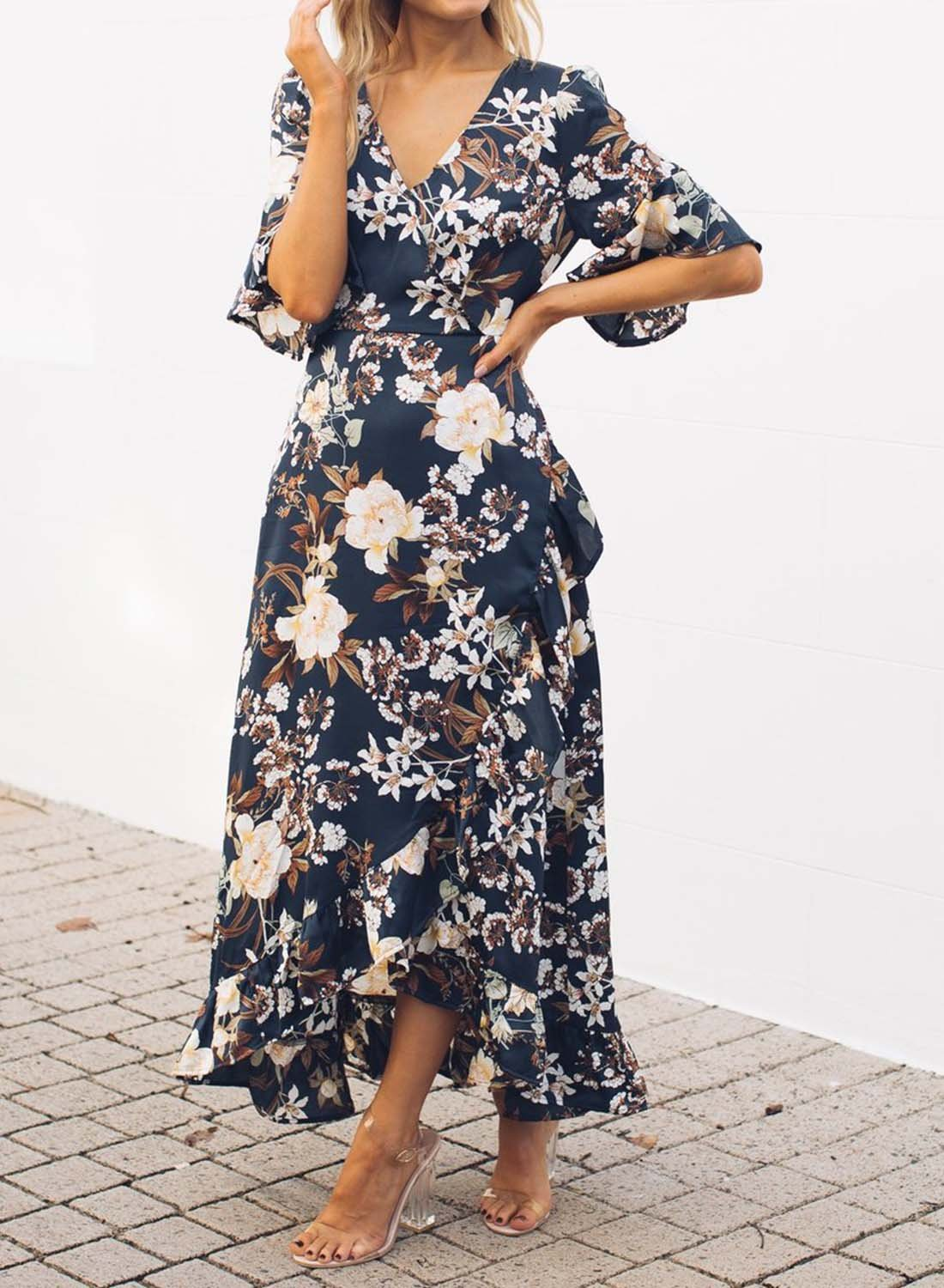 Short Sleeve Floral Print Maxi Dress choichic.com