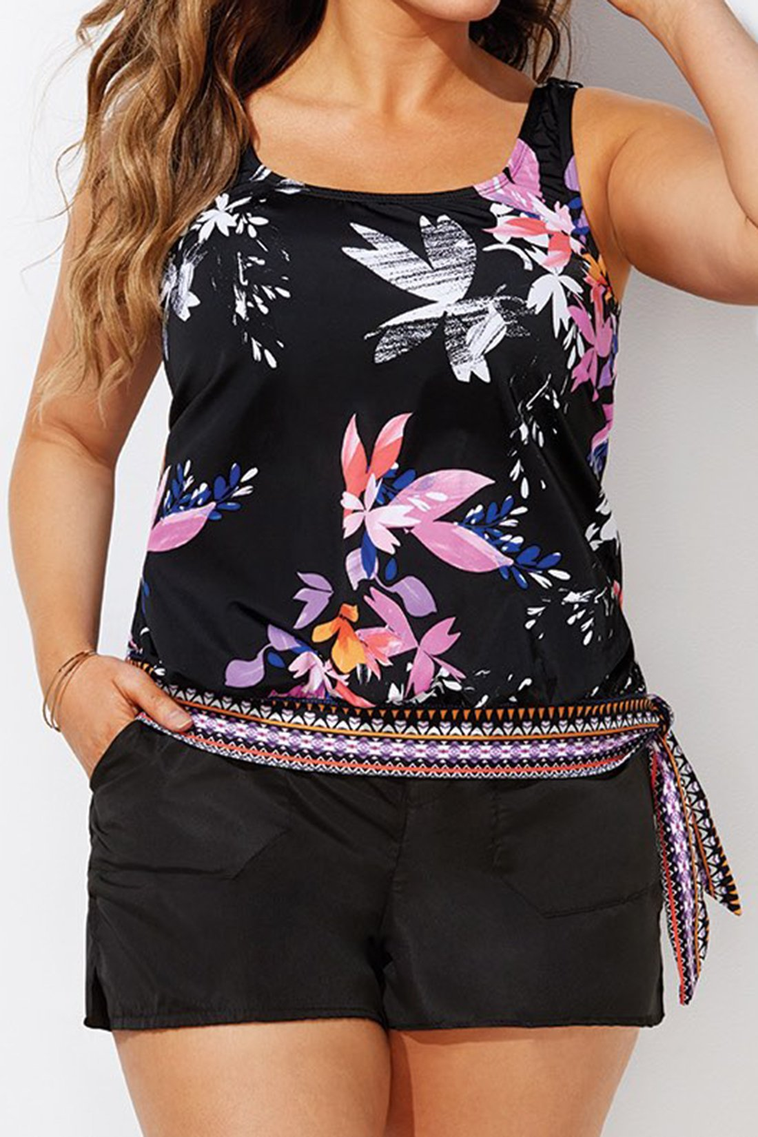 WINDFLOWER SIDE TIE BLOUSON TANKINI WITH CARGO SHORT choichic.com