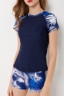 leaf-print-round-neck-tankini-set