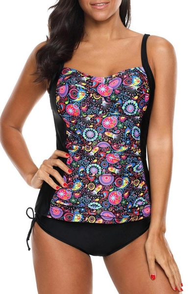 flower-print-ruched-design-tankini-set