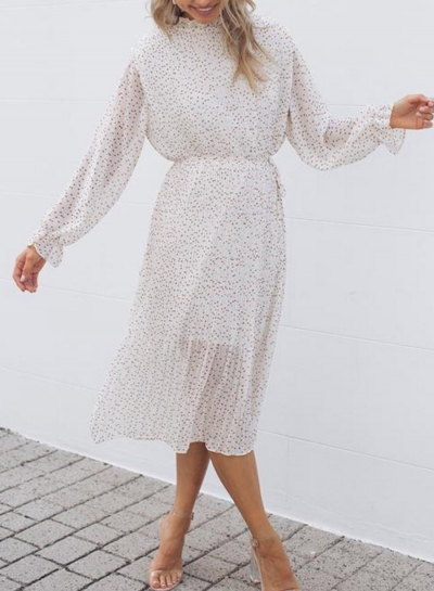 long-sleeves-polka-dot-pleated-dress
