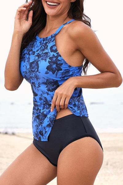 flower-print-slim-tankini-set