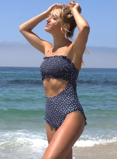 floral-polka-dot-smocked-one-piece-bikini