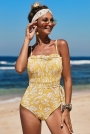 yellow-fashion-side-tie-flower-print-one-piece-swimsuit