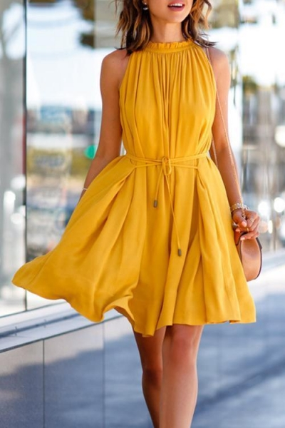 amourfab-round-neck-belted-mini-pleated-dress