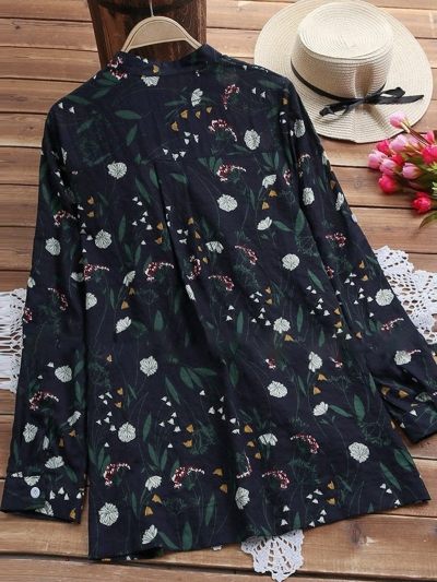 elegant-cotton-floral-plus-size-stand-collar-printed-dyed-blouse