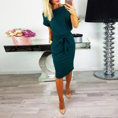 women-solid-short-sleeve-lace-up-dresses-with-belt