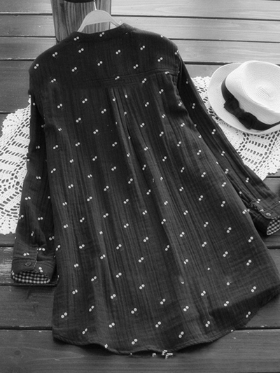 cute-printed-stand-collar-blouse