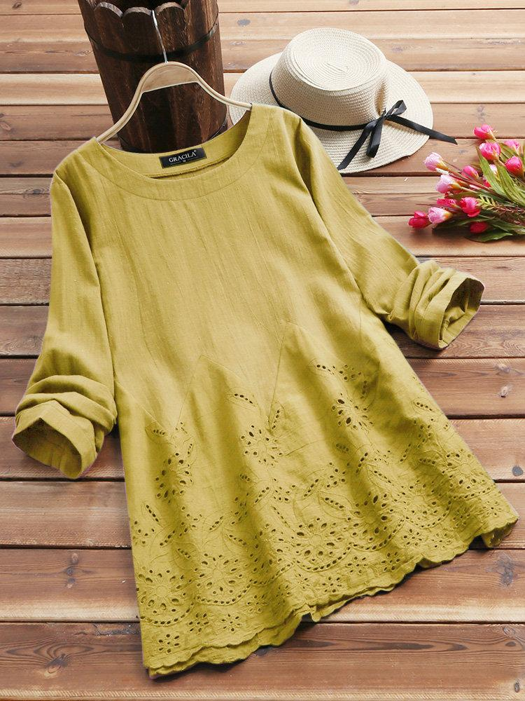 Hollow Long Sleeve Embroidered O-neck Vintage Blouse choichic.com