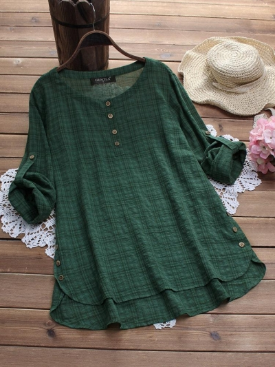 side-buttons-plaid-print-irregular-casual-blouses