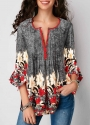button-up-pleated-printed-three-quarter-sleeve-blouse