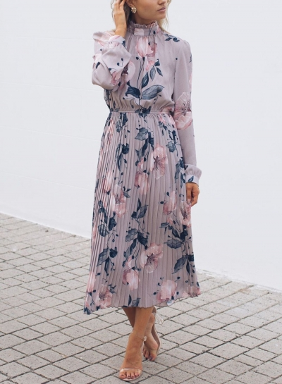 lilac-floral-print-high-frill-neckline-pleated-dress